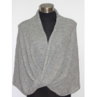 Twisted Wrap - Poncho Like - Grey - 100% Alpaca