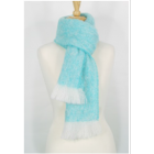 Brushed Alpaca Scarf - Aqua-White