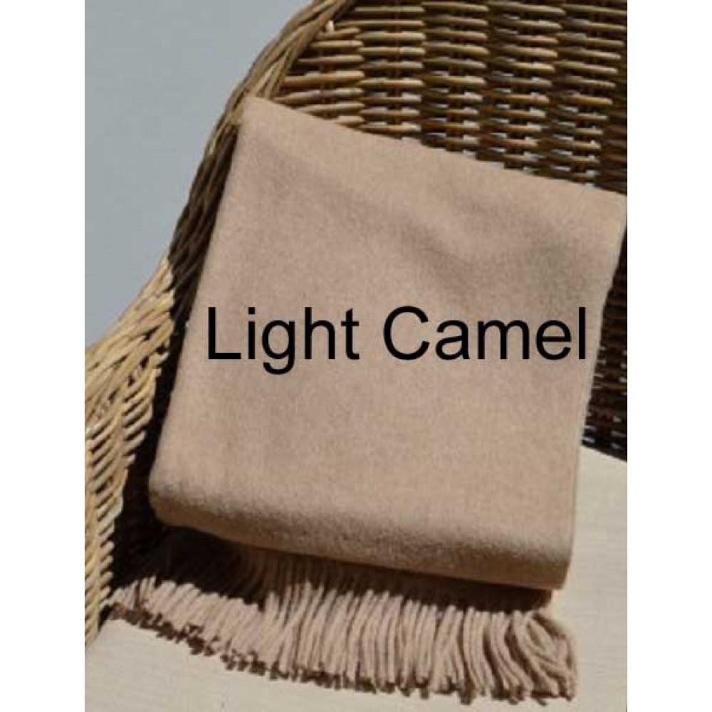 Alpaca Woven Throw Rug - Light Camel