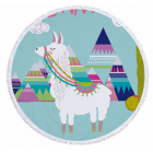 Alpaca Round Beach Towel - Alpaca with Mountains