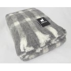 Australian Brushed Alpaca Knee Rug - Grey - Cream Check