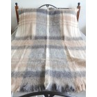 Australian Brushed Alpaca Throw Rug - Natural Check
