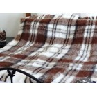 Australian Brushed Alpaca Throw Rug - Natural Tartan Check