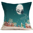 RubeyLiza Christmas Linen Cushion - Blue- Santa in the Sleigh