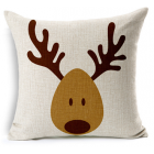RubeyLiza Christmas Linen Cushion - Cute Reindeer