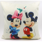 RubeyLiza Christmas Linen Cushion - Mistletoe Mickey & Minnie Mouse