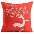 RubeyLiza Christmas Linen Cushion - Red Reindeer