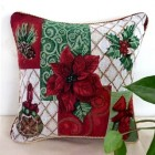RubeyLiza Christmas Tapestry Cushion - Poinsettia and Wreath