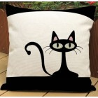 RubeyLiza - Black Cat - Linen Cushion