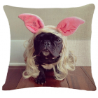 RubeyLiza Easter Linen Cushion - French Bulldog