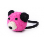 RubeyLiza Felted Hair Tie - Pink Bear