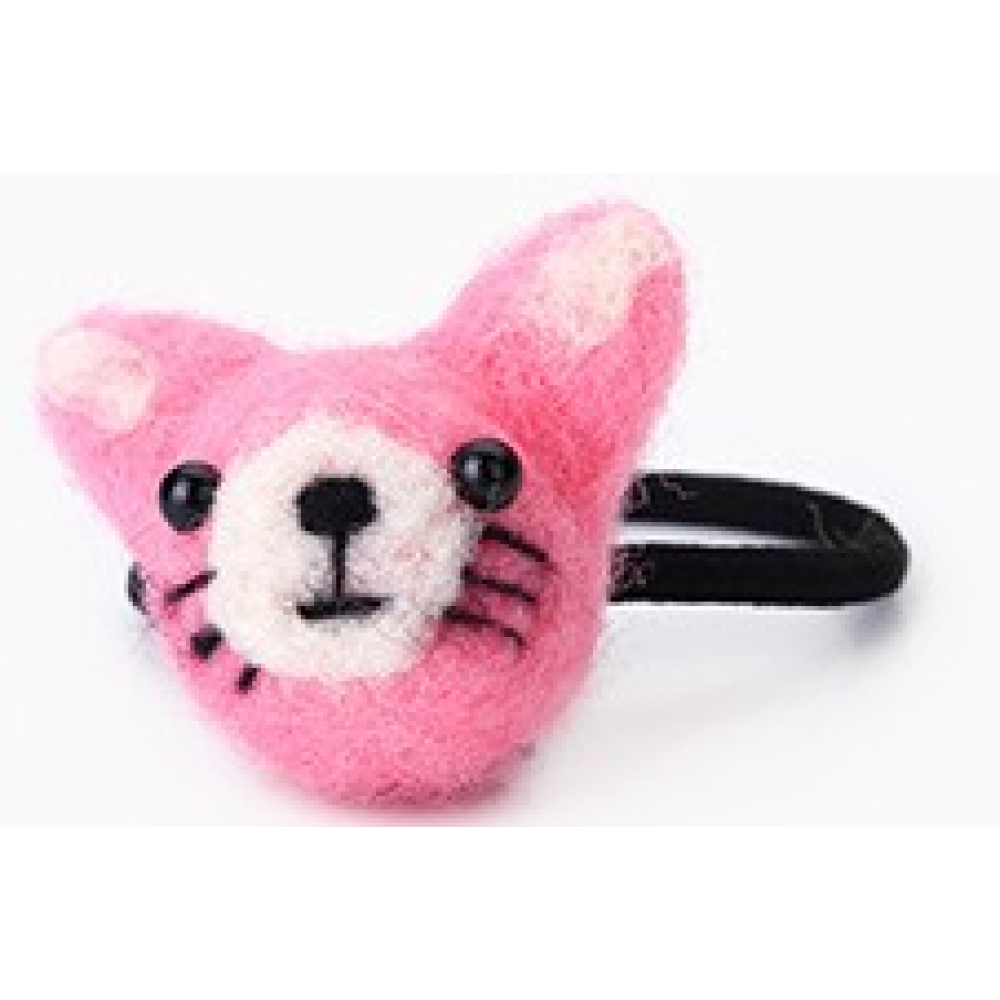 RubeyLiza Felted Hair Tie - Pink Cat