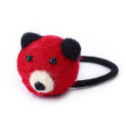 RubeyLiza Felted Hair Tie - Red Bear