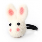 RubeyLiza Felted Hair Tie - White Rabbit