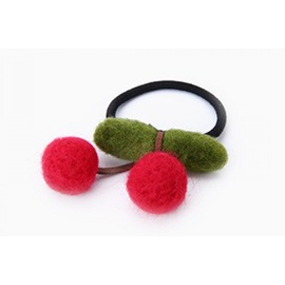 RubeyLiza Felted Hair Tie - Red Cherry