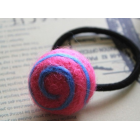 RubeyLiza Felted Hair Tie - Lollipop Swirl - Hot Pink