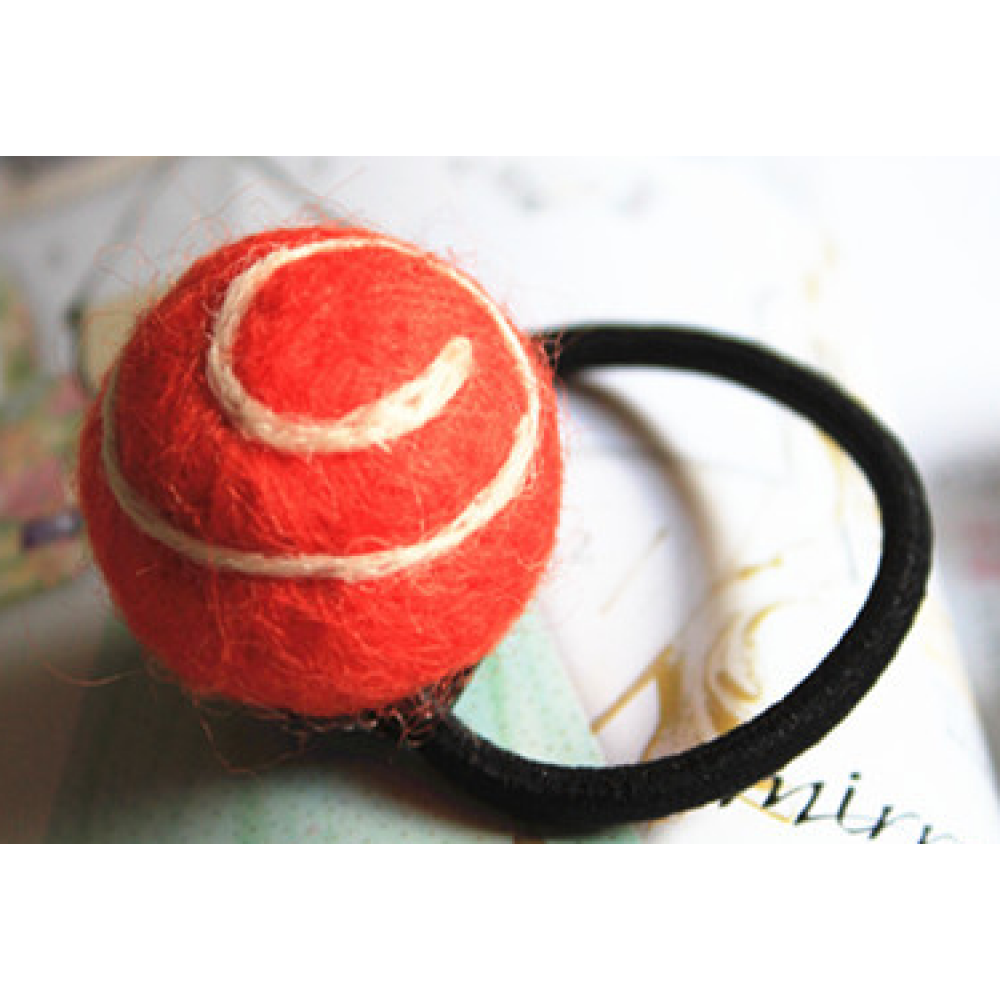 RubeyLiza Felted Hair Tie - Lollipop Swirl - Orange