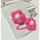RubeyLiza Felted Hair Slides - Hot Pink Flowers