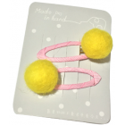 RubeyLiza Felted Hair Slides - Yellow