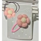 RubeyLiza Felted Hair Slide & Elastic  - Pink Flowers