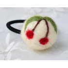 RubeyLiza Felted Hair Tie - White Cherry Image