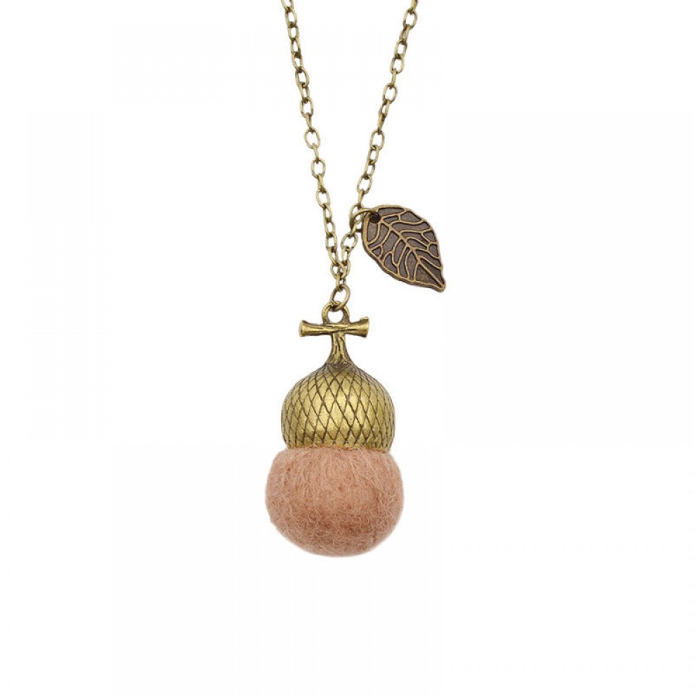 Felted Acorn - Fawn- Retro Necklace