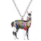 Alpaca Necklace - Floral Design - Model - GREY