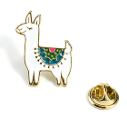 Alpaca Lapel Pin - White Alpaca with Coloured Saddle Blanket