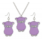 Alpaca Necklace and Earings Set - Purple
