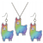 Alpaca Necklace and Earings Set - Rainbow