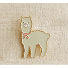 Alpaca Lapel Pin - White Alpaca with Pink Ribbon Necktie