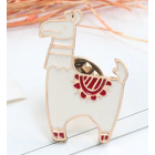 Alpaca Lapel Pin - White Alpaca with Brown Saddle Blanket