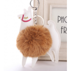 Cute Colourful Alpaca Pom Pom Key Chain - Colour - Brown