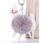 Cute Colourful Alpaca Pom Pom Key Chain - Colour - Grey
