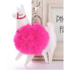 Cute Colourful Alpaca Pom Pom Key Chain - Colour - Hot Pink