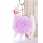 Cute Colourful Alpaca Pom Pom Key Chain - Colour - Light Pink