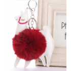 Cute Colourful Alpaca Pom Pom Key Chain - Colour - Red