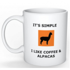 "Coffee Mug - ""It's simple .....  I love Coffee and Alpacas"""