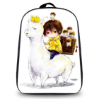 Alpaca Image Back Pack Bag -White Lllama