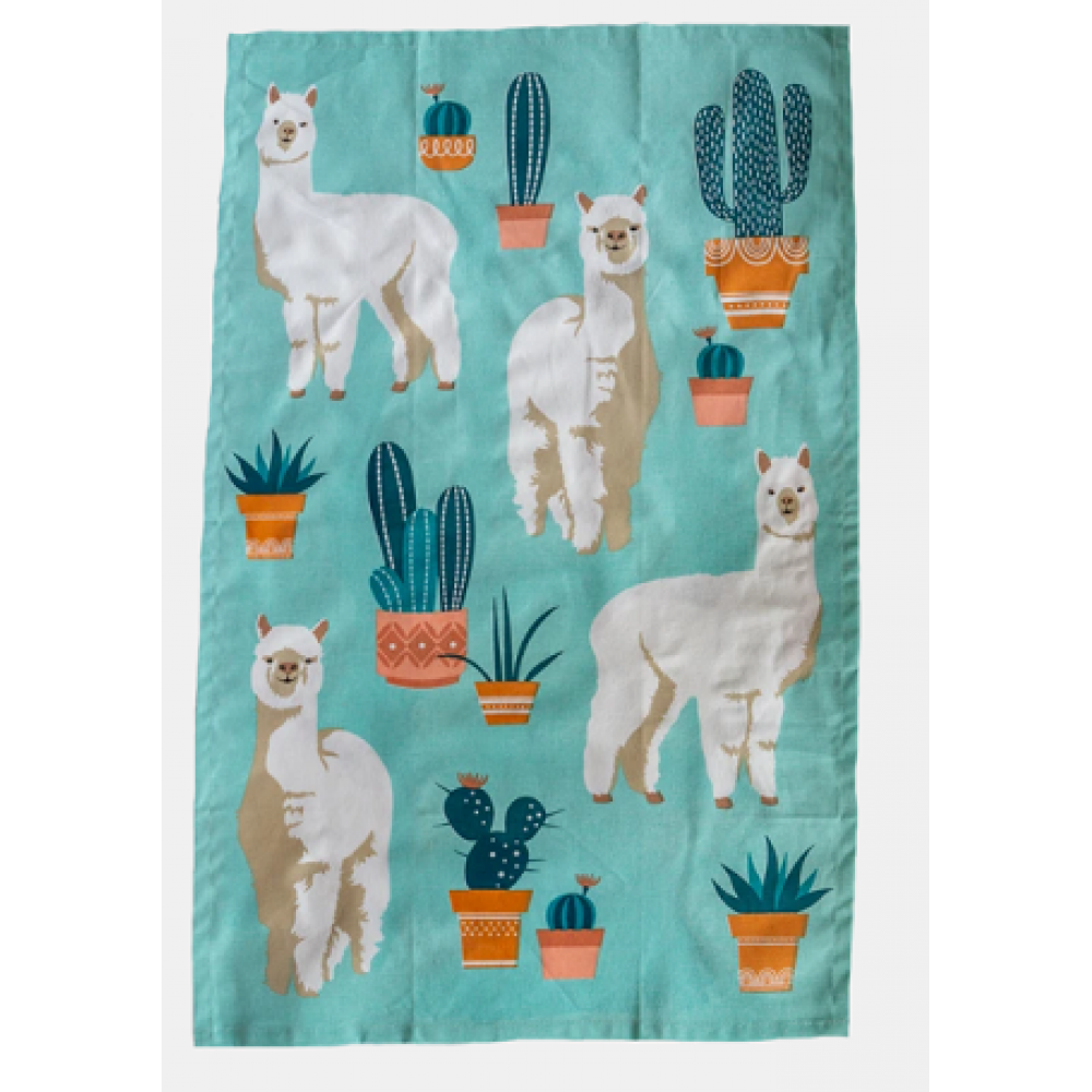 Alpaca Printed Cotton Tea Towel