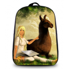 Alpaca Image Back Pack Bag -Girl with Llama