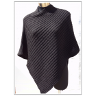 Alpaca/Wool Asymmetrical Poncho - Black