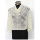 Alpaca Lacy Knit Poncho - Natural Cream
