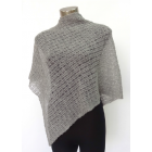 Alpaca Lacy Knit Poncho - Grey