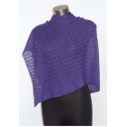 Alpaca Lacy Knit Poncho - Purple
