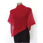 Alpaca Lacy Knit Poncho - Red