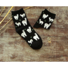 Black Cotton Blend Alpaca Image Socks
