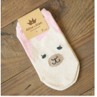 Women's Pink Alpaca Image Low Cut Ankle Sport Socks