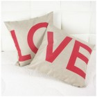 RubeyLiza Red LO VE Cushions 45x45cm (Pair Only)